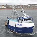 Blueye leaving Eyemouth to fish the Firth of Forth prawn grounds overnight.