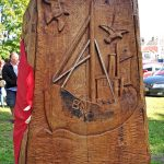One of the five oak panels that form the memorial, varnished and ready to face the elements.