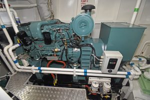 One of the two Mitsubishi 6D16 auxiliary engines that run the Stamford 120kVA generators.