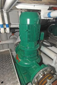Six-inch diameter Azcue pumps, driven by 7.5kW electric motors, change the seawater in the vivier hold six times an hour.