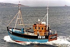 … as probably the last wooden potting boat built for the South West on launch in 1986.