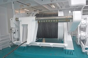 The MacGregor 90t split trawl winches mounted at the sides of the boat deck…