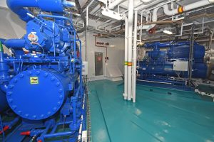 Two 1,150kW MMC refrigeration plants are housed on the main deck forward.
