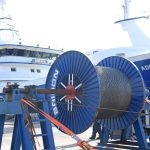 Spooling on 2,200m of 38mm-diameter Bridon Dyform trawl wire under tension at Lerwick.