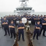 HMS Tyne captain Commander Jon Browett and his crew.