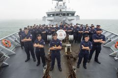 HMS Tyne captain Commander Jon Browett and his crew.