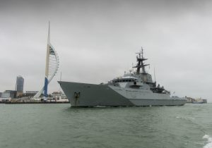 HMS Tyne returning to HMNB Portsmouth.