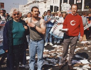 Fishermen from all over Britain came to Plymouth to block off the main street with dead fish. Jim Portus is on the right.