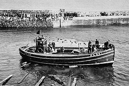 Manx Beauty on her launch day in Cellardyke harbour in June 1937.