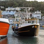 Looe trawler Guardian approaching the quay to land a day's catch to the market.