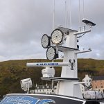 A Seematz searchlight is mounted on the wheelhouse roof under AAA Web high-intensity LED floods…