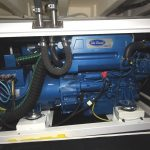 A Sole Diesel 28kW generator is housed in a soundproofed cabinet on the starboard side of the engineroom.