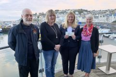 Left to right: Robert Horrobin of the Vigilance, Debbie Pennington, secretary for Brixham fishmarket tours, Helen Lovell of the Fishermen's Mission, and Christine Hodgetts, the fishmarket tour organiser.