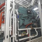A Mitsubishi S6B3 variable-speed auxiliary engine drives the main hydraulic system…