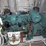 One of the two Mitsubishi 6D16T auxiliary engines, which drive 125kW Stamford 415/3/50 generators.