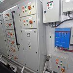The main electrical distribution cabinets are arranged across the fore end of the engineroom.