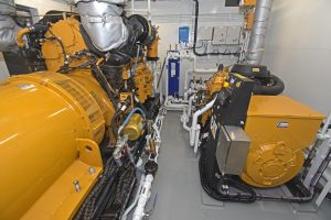 Two of the three generators housed in the forepeak.