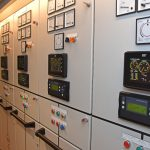 Analogue and digital display panels are fitted on the distribution cabinets serving each genset.