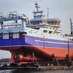 Zephyr being conveyed downriver, after being built by Marine Projects Ltd, in preparation for being floated in a large dry-dock at Gdansk, before being towed to Larsnes by tug.