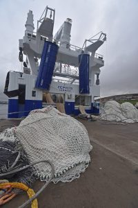 Two new 80m braillers on the quay, ready to go aboard Zephyr as the vessel was rigged out at Lerwick.