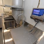 A set of Marel electronic scales is fitted in the fish-sampling room in the deckhouse.