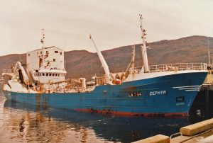 The 1980-built Zephyr at Ullapool, after being lengthened by 55ft in 1985.