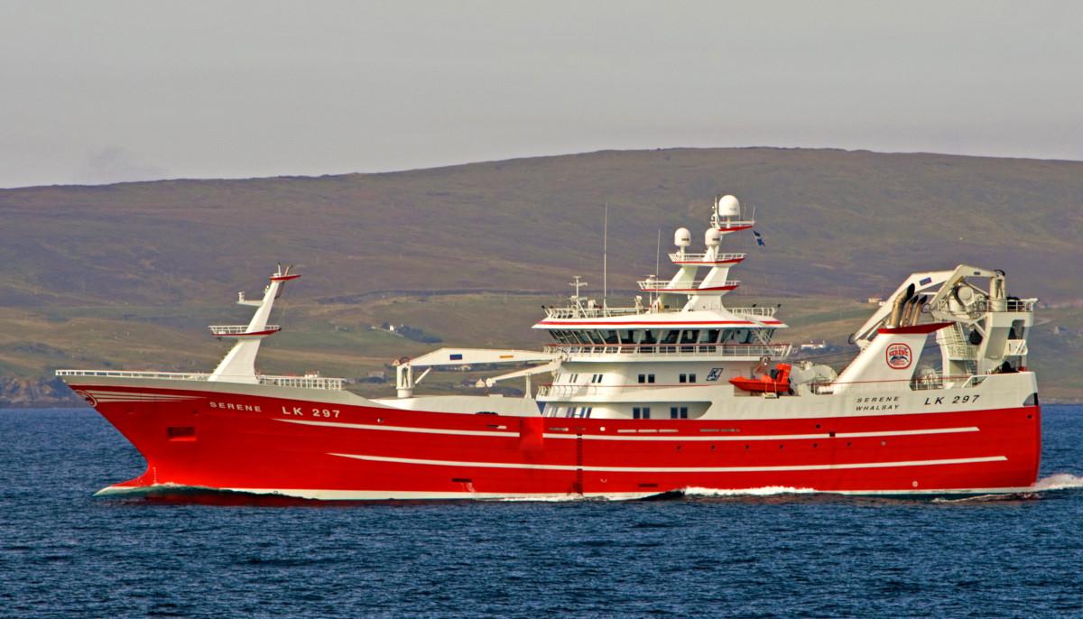 The Shetland midwater trawler Serene leaving Lerwick for herring grounds east of Fair Isle. (Declan Horan)