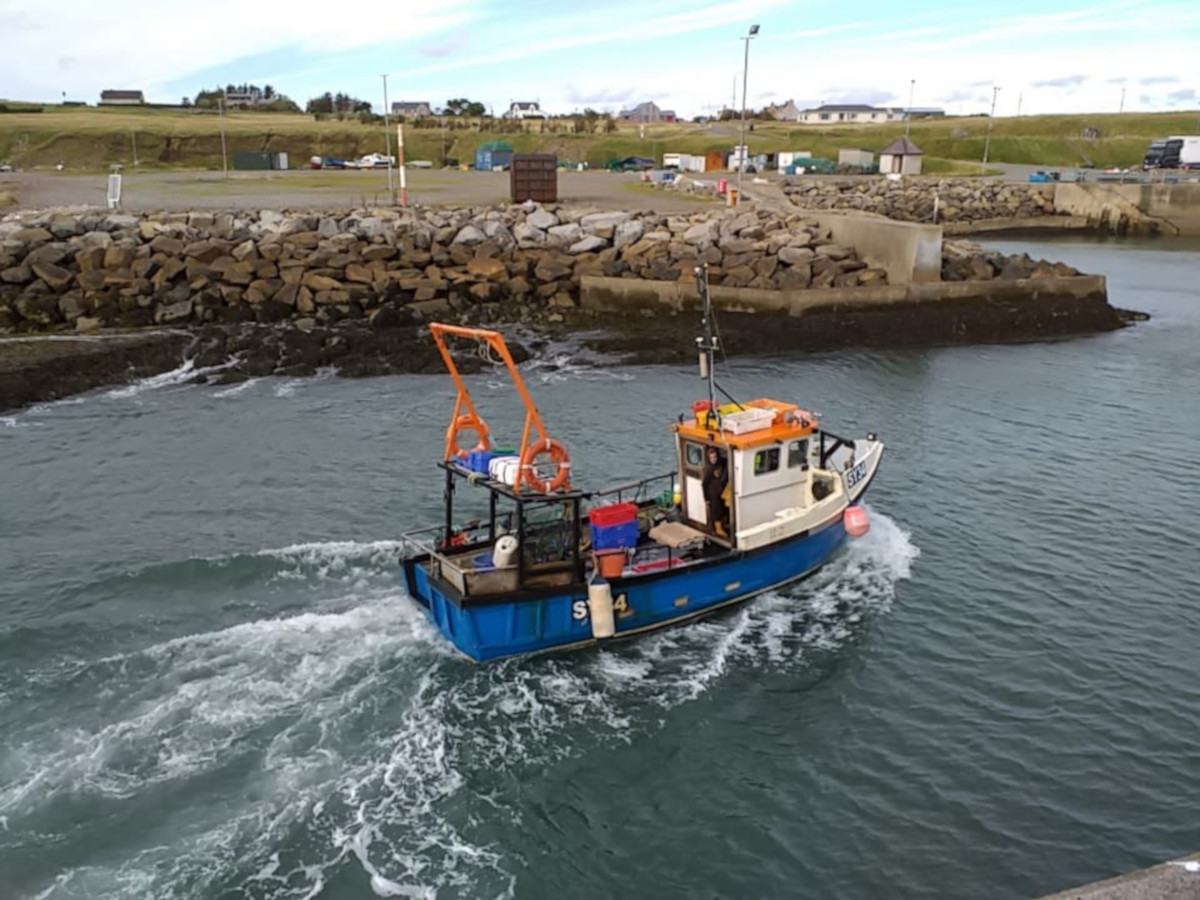 The Western Isles creel boat Renegade SY 7 returning to Brevig harbour on the Isle of Lewis. (Jake Grontier)