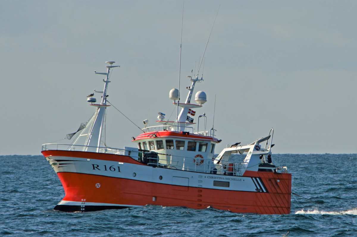 … and the modern steel-hulled Christina Michelle R 161 towing in the Skagerrak. (Declan Horan)