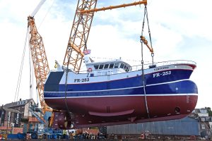 The new-look Fraserburgh twin-rig trawler Virtuous is launched at Whitby.
