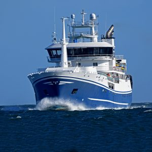 The new pelagic vessel Taits approaching Fraserburgh for the first time.
