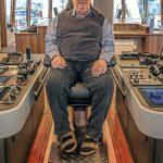 Skipper Davie Hutchison in one of the four wheelhouse seats supplied by NorSap.