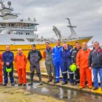 The Charisma crew pause for a team photo while completing rigging out at Lerwick. Left to right: skipper Davie Hutchison, Magnus Polson, Steve Tulloch, John Pearson, Greig Anderson, Laurence Pearson, Colin Anderson, Stephen Williamson, Richard Hutchison, James Tulloch, William Polson, Billy Hughson, Larry Williamson and Roy Huntley.
