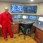 Chief engineer Billy Hughson in Charisma's highly automated engine control room.