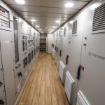 … remotely operated through cabinets in a dedicated room on the main deck.