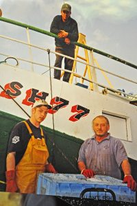 Our Pride SH 77, seen here in 2001 with three generations of Jenkinsons – Will, Bill and Colin – did well at trawling in the late 1980s.