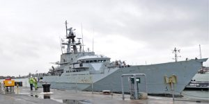 HMS Clyde returns to Portsmouth Naval Base after 12 years in the South Atlantic.
