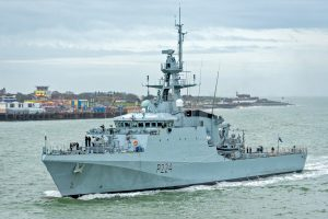 The Batch 2 River-class patrol vessel HMS Trent enters Portsmouth harbour after her delivery trip from Glasgow.
