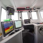 The wheelhouse is well laid out, with new communications, navigation and plotting equipment and excellent all-round visibility.