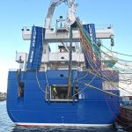 Stern view of Lunar Bow, as the crew take on a new 1,300m dual-purpose mackerel/herring net from Jackson Trawls.