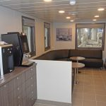 The coffee/tea room on the port side of the shelterdeck.