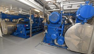Two Johnson Controls ammonia-based refrigeration plants delivering 1,345kW each are located forward at main deck level.