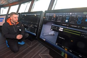 Scanmar UK general manager Liam Youngson fine-tunes the Scanmar ScanBas 365 net- and catch-monitoring system.