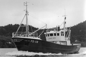 The first steel-hulled purser/trawler Lunar Bow PD 118 on trials at Flekkefjord in 1970.