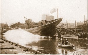 Vera H 960 being launched at the famous Cook, Welton and Gemmell yard in Beverley near Hull. Vera was thought to be the first Hull trawler to land 2,000 kits (one kit was 10 stone) from one trip, skippered by Chris Poulson, in around 1910. The Beverley yard built scores of trawlers for the distant-water fleets of Hull, Grimsby and Fleetwood in the first half of the 20th century.