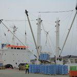 The Russian reefership Nova Zeelandia loading frozen fish at Killybegs for export.