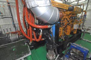 … through a Brevini adaptor unit and three Denison pumps.
