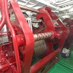 Crystal Sea's three 15t split trawl winches are spooled with 275m of 22/24mm fibre-core wire supplied by MarineCo.