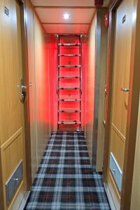 Low-level LED safety lighting is fitted on the internal stairs.