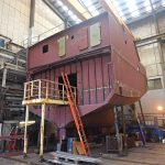 A lifetime's ambition starts to become a reality as Crystal Sea takes shape in Macduff Shipyards' fabrication hall seven months ago.